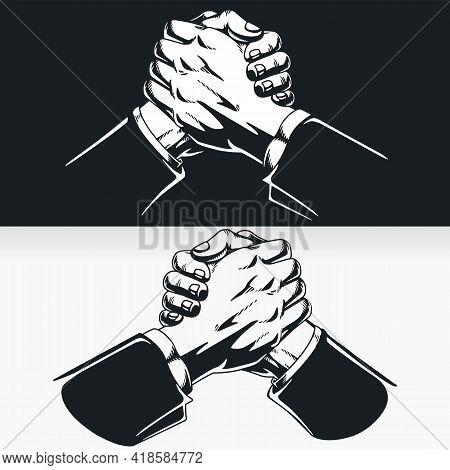 Silhouette Teamwork Success Soul Hand Shake Stencil Vector Drawing