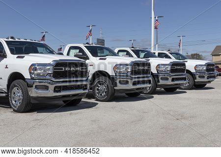 Plainfield - Circa April 2021: Ram 2500 Display At A Chrysler Ram Dealership. The Stellantis Subsidi