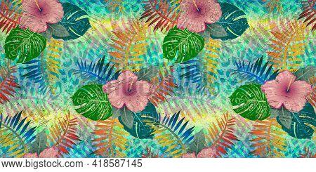 Digital Tiles Design. Digital Fresco 3d Render Ceramic Wall Tiles Decoration. Abstract Tropical Palm