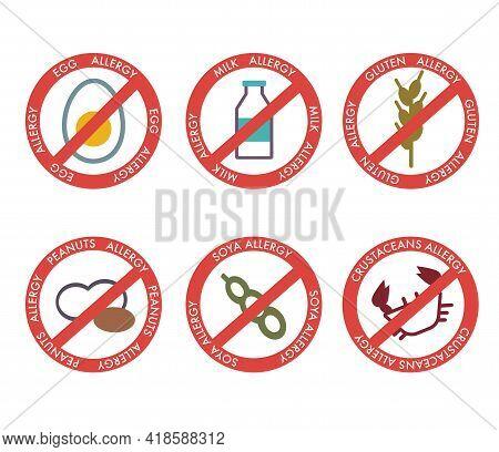 Big Set Of Stop Signs Main Food Allergens.