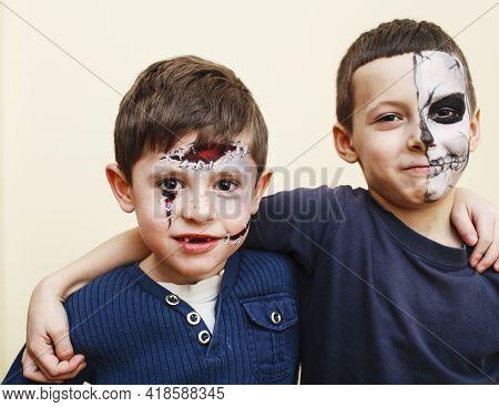 Zombie Apocalypse Kids Concept. Birthday Party Celebration Facepaint On Children Scar Face, Skeleton