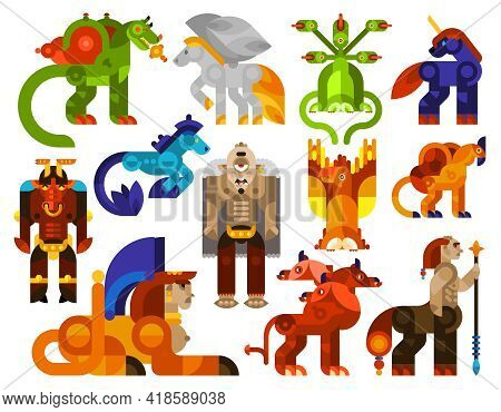 Mythical Creatures Icons Set With Legendary Monster Animals Flat Isolated Vector Illustration
