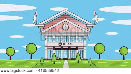 School Building Flat Design With Green Grass And Trees Landscape Horizontal Banner. College, Univers
