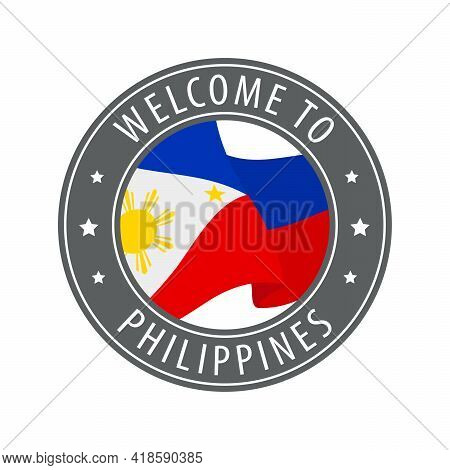 Welcome To Philippines. Gray Stamp With A Waving Country Flag. Collection Of Welcome Icons.