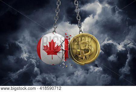 Canada Flag Smashing Into A Gold Bitcoin Crypto Coin. 3d Rendering