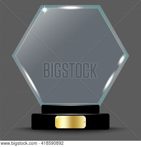 Championship Trophy. Sport Award. Crystal On Stand On Transparent. Winner Award. Vector Illustration