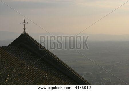 Church Cross Overlooking Tuscan Hills