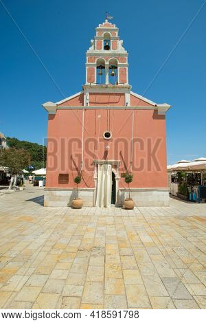 Bell tower of the church in Gaios town Paxos Island, Greece