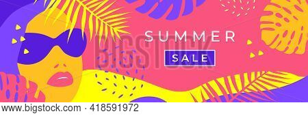 Summer Sale Banner. Vector Banner For Social Media, Card, Poster. Illustration With Palm Leaves, A C