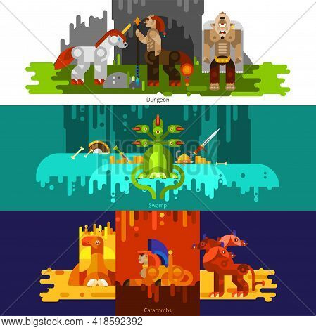 Three Banners Flat Of Mythical Creatures With Dungeon And Swamp And Catcombs Set Horizontal Vector I