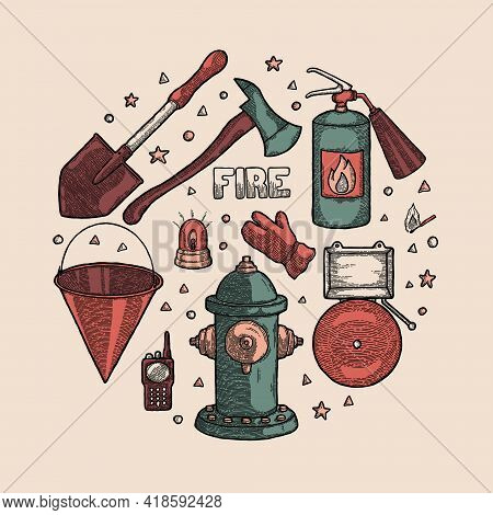 Firefighting Vintage Set Of Fireman Tools Vector Illustration. Rescue Equipment Isolated. Extinguish