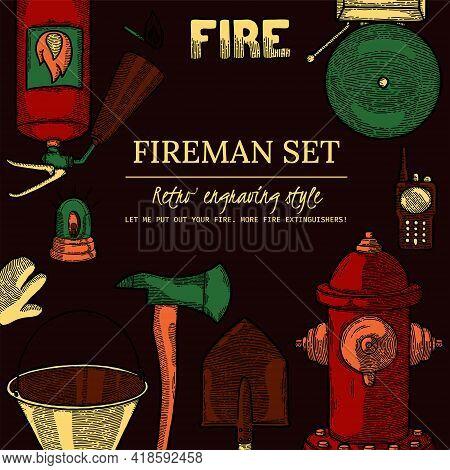 Firefighting Vintage Elements Poster, Cover, Social Media Banner Template. Finished Label, Design El