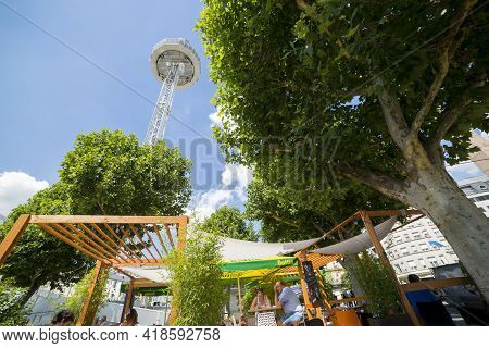 Luxembourg, Grand Duchy Of Luxembourg - July 06, 2018: Street Cafe Under The Observation Deck City S