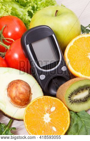 Glucose Meter With Fresh Nutritious Fruits And Vegetables. Healthy Nutrition And Checking Sugar Leve