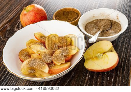 Ripe Apple, Spoon In White Bowl With Sugar And Ground Cinnamon, Slices Of Apples With Sugar And Cinn