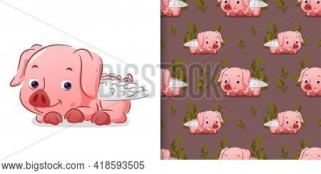 The Seamless Of The Cute Cupid Pig Lie Down On The Mud With The Cute Face Of Illustration
