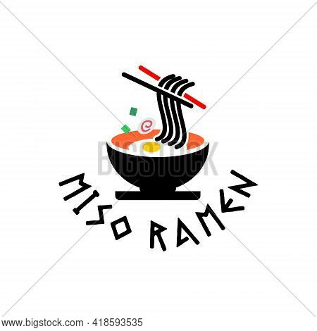 Ramen Logo Noodles Graphic Design Template With Bowl And Chopstick Vector For Food Industry Inspirat