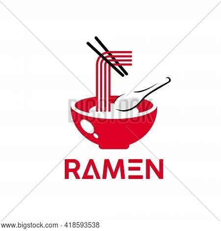 Ramen Logo Simple Red Noodles Vector. Oriental Famous Traditional Culinary And Food Industry Inspira