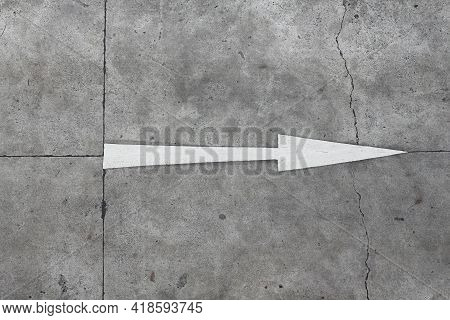 Traffic Direction Painted On The Concrete Road. Straight Forward Arrow.