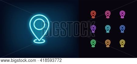 Neon Map Pin Icon. Glowing Neon Marker Sign, Outline Pointer Pictogram In Vivid Color. Navigation Ma