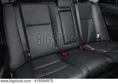 Novosibirsk, Russia - April 25 2021: Toyota Camry, Comfort Car Inside. Clean Car Interior: Black Bac