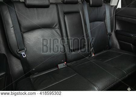 Novosibirsk, Russia - April 25 2021: Mitsubishi Asx, Comfort Car Inside. Clean Car Interior: Black B