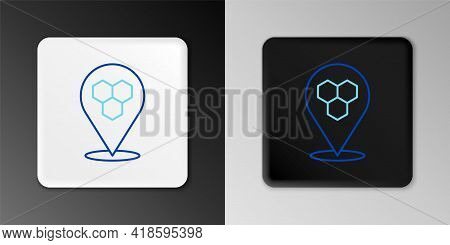 Line Honeycomb Bee Location Map Pin Pointer Icon Isolated On Grey Background. Farm Animal Map Pointe