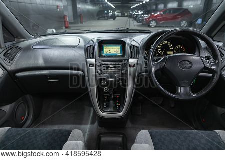 Novosibirsk, Russia - April 25 2021: Toyota Harrier,  Steering Wheel, Shift Lever And Dashboard, Cli