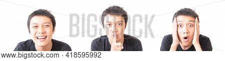 Set Of Smile With Happy Face, Asian Young Man With Finger And Surprised Character With White Backgro