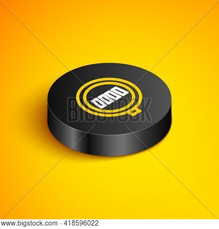 Isometric Line Pedestrian Crosswalk Icon Isolated On Yellow Background. Traffic Rules And Safe Drivi