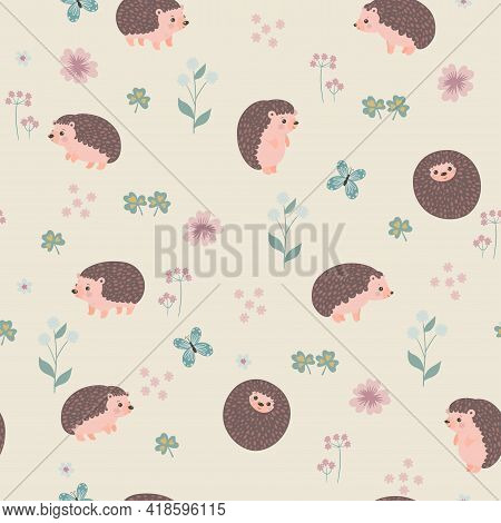 Seamless Pattern With Cute Hedgehogs And Flowers. Vector Image.