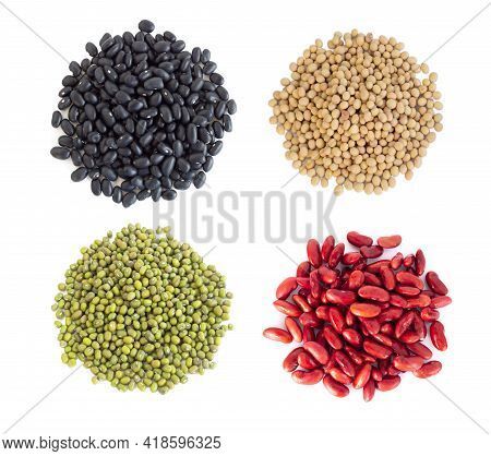 Mix Beans Isolated On White Background, Healthy Food Concept