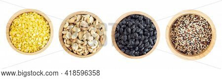 Rosted Peanuts, Peeled Mung Bean, Black Beans Seed, Quinoa  In Wooden Bowl Isolated On White Backgro