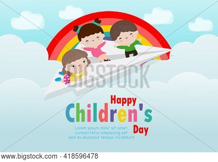 Happy Children's Day Background Poster With Happy Three Kids Flying On A Paper Airplane In The Cloud