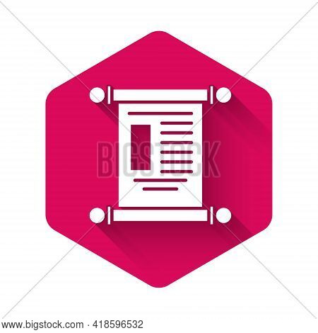 White Decree, Paper, Parchment, Scroll Icon Icon Isolated With Long Shadow. Chinese Scroll. Pink Hex