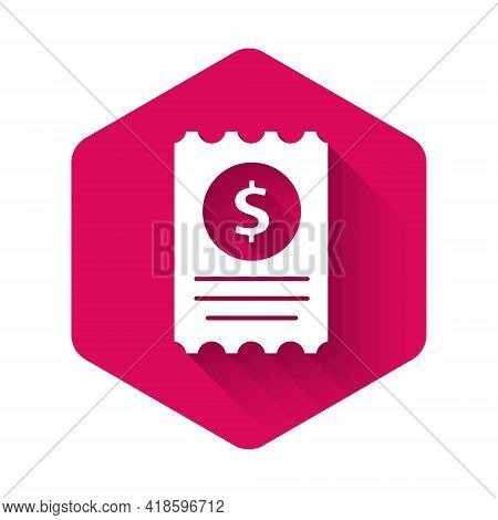 White Paper Check And Financial Check Icon Isolated With Long Shadow. Paper Print Check, Shop Receip