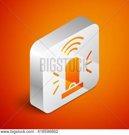 Isometric Smart Flasher Siren System Icon Isolated On Orange Background. Emergency Flashing Siren. I