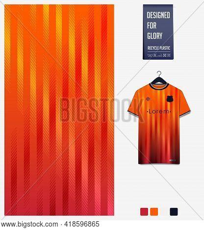 Soccer Jersey Pattern Design. Stripe Pattern On Orange Abstract Background For Soccer Kit, Football