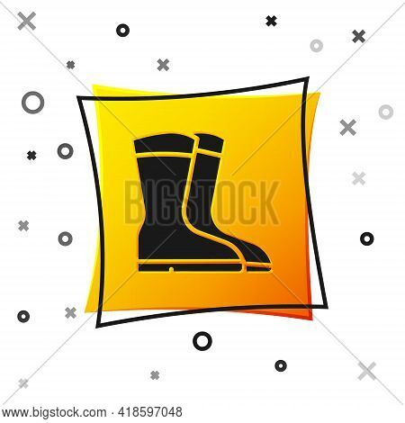 Black Fishing Boots Icon Isolated On White Background. Waterproof Rubber Boot. Gumboots For Rainy We