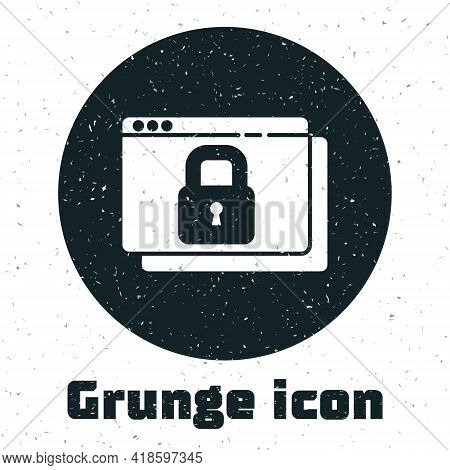 Grunge Secure Your Site With Https, Ssl Icon Isolated On White Background. Internet Communication Pr