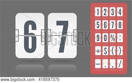 Flip Number And Symbol Scoreboard On Transparent Background. White Snalog Countdown Number Font. Vec