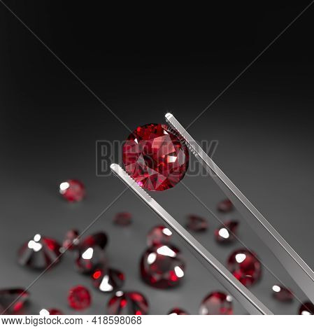 The Tweezers Are Holding A Ruby. A Scattering Of Rubies On A Black Surface. Gemstone Industry. Exper