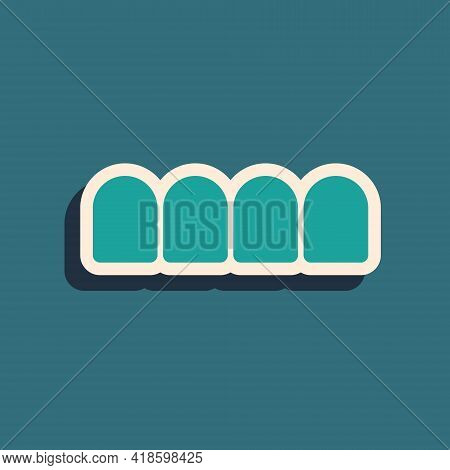 Green Dentures Model Icon Isolated On Green Background. Teeth Of The Upper Jaw. Dental Concept. Long