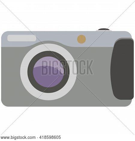 Camera Icon, Vector Photocamera Isolated On White