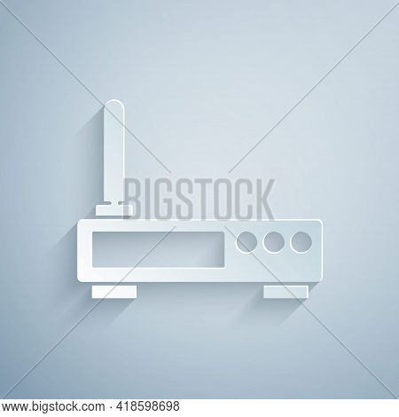 Paper Cut Router And Wi-fi Signal Icon Isolated On Grey Background. Wireless Ethernet Modem Router.