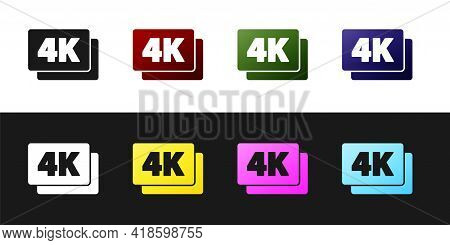 Set 4k Ultra Hd Icon Isolated On Black And White Background. Vector