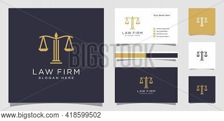Symbol Lawyer Attorney Advocate Template Linear Style Company Logotype And Business Card