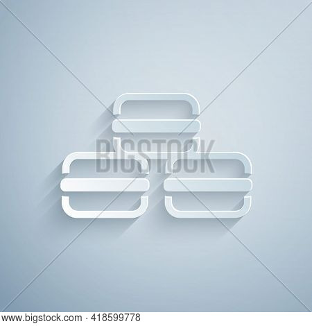Paper Cut Macaron Cookie Icon Isolated On Grey Background. Macaroon Sweet Bakery. Paper Art Style. V