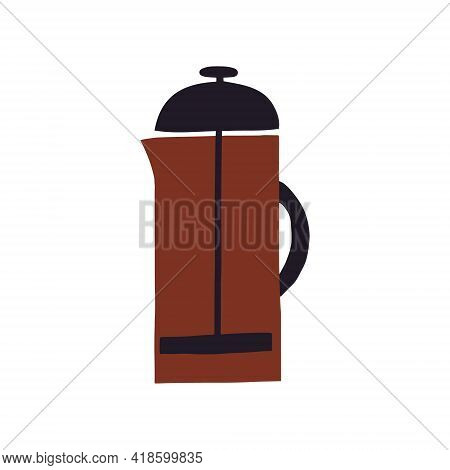 Hand Drawn Abstract Vector Illustration Of French Press Coffee Pot Used For Brewing Coffee Or Hot Te