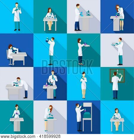 Scientist Person Flat Icons Set With People In Chemistry Lab Isolated Vector Illustration